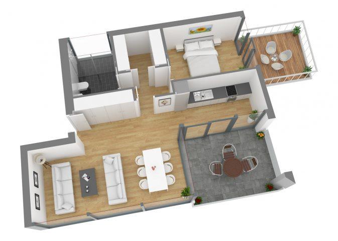 12337-Apartment-3A 3D Seitenansicht